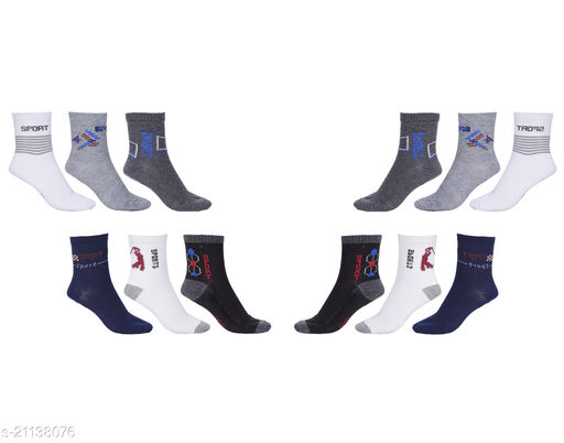 Pack of 12 Multi Color Ankle Sports Socks for men and women