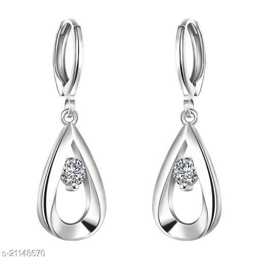 MYKI Silver Plated Royal Look Zircon Stone Drop Earring for Women