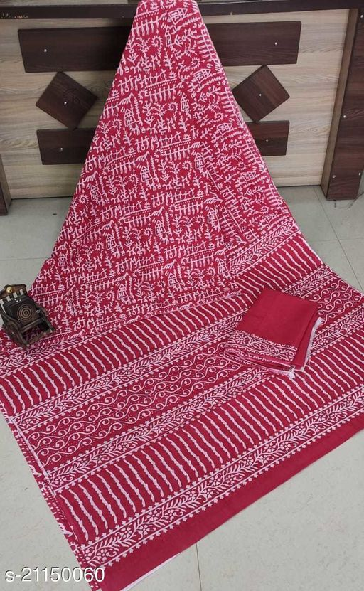 NEW COLLECTION HAND BLOCK PRINTED SUPER DYING MUL MUL COTTON SAREE WITH BLOUSE BAGRU PRINT FANCY SAREE