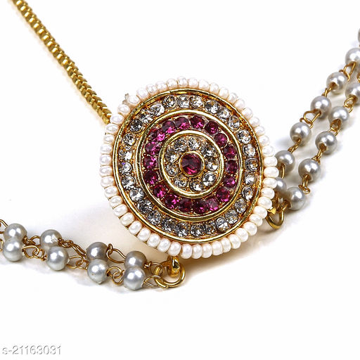 Lovemetz Gold And Red Stone Pearl Studded Green Line Matha Patti american Diamond for Girls and Women