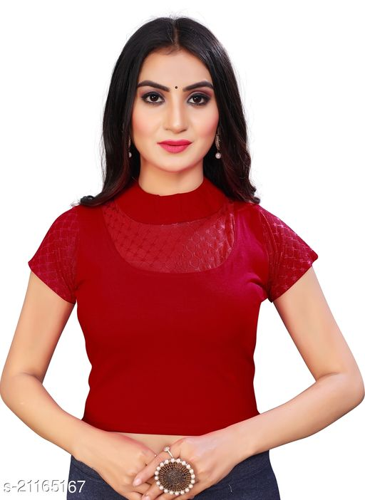 Designer collared cotton lycra blouse with net sleeve and oval back cut