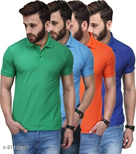 QUVYARTS Soft Cotton Polo T-Shirts for Men Combo (Pack of 4)