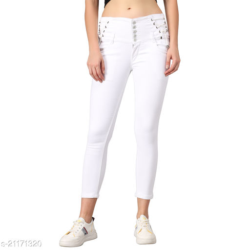 M MODDY Women's White Slim Fit 5 Button Stretchable Ankle Length Denim Lace-up Jeans