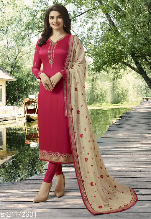 Women's Pink Georgette Satin/ Haevy Georgette/Pure Georgette  Semi-Stitched Embroidered Straight Salwar Suit (Free Size)