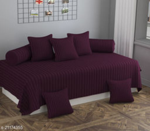 Apala® Beautiful 240 TC 100 % Microfiber Elegant Striped Pattern Diwan Set with 8 Pieces, One Single Bed Sheet with 5 Cushions Covers and 2 Bolster Covers (Maroon)
