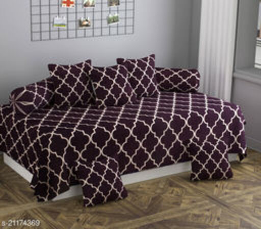 Apala® Beautiful 240 TC 100 % Microfiber Elegant Design Pattern Diwan Set with 8 Pieces, One Single Bed Sheet with 5 Cushions Covers and 2 Bolster Covers (Brown)