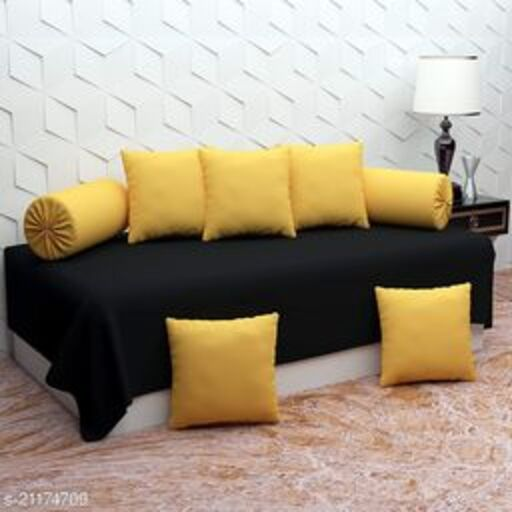 Apala® Beautiful 240 TC 100 % Microfiber Elegant Design Solid Pattern Diwan Set with 8 Pieces, One Single Bed Sheet with 5 Cushions Covers and 2 Bolster Covers (Black & Yellow)