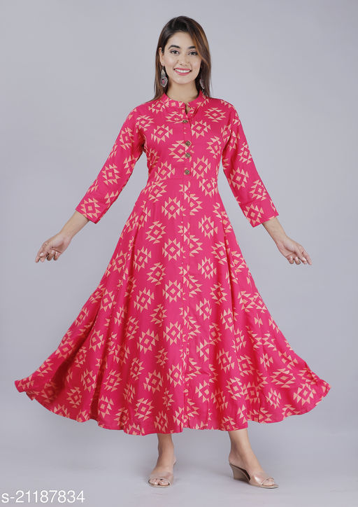 Womans Self Design Rayon Anarkali Ankle Length Flare Kurtas For Girls And Womans