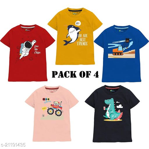 BOYS PURE COTTON GRAPHICS TSHIRT PACK OF 4