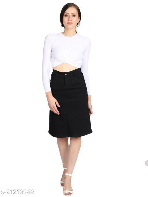 Alacare Women Black Denim Slim Fit Skirt 70CM