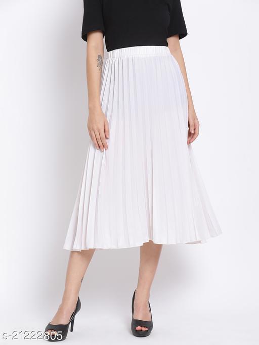 White Pleated Midi Women Skirt