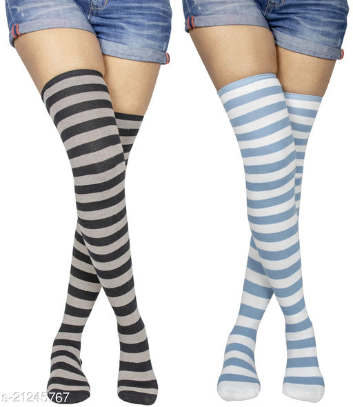 Neska Moda Women's 2 Pair Striped Cotton Thigh-High Stockings (Grey, Light Blue) - STK38andSTK44