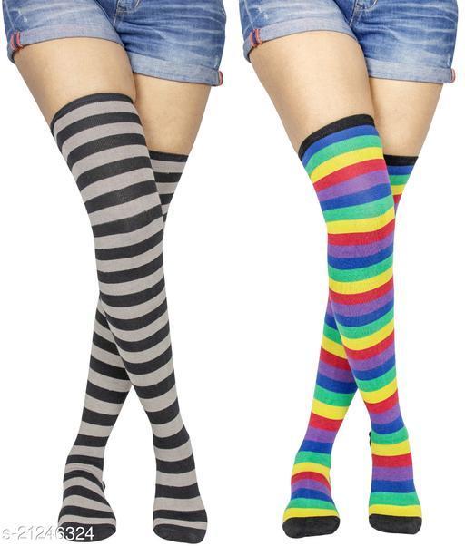 Neska Moda Women's 2 Pair Striped Cotton Thigh-High Stockings (Multicolor) - STK38andSTK50