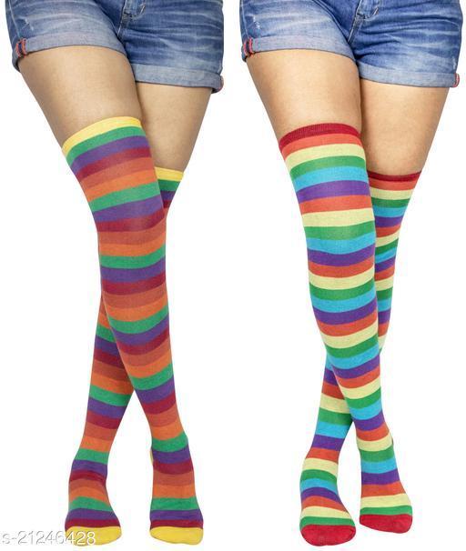 Neska Moda Women's 2 Pair Striped Cotton Thigh-High Stockings (Multicolor) - STK48andSTK49