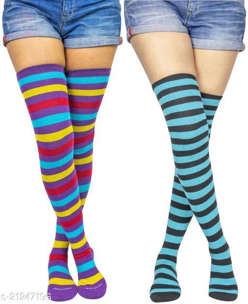Neska Moda Women's 2 Pair Striped Cotton Thigh-High Stockings (Purple, Blue) - STK30andSTK37