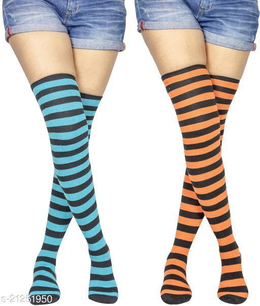 Neska Moda Women's 2 Pair Striped Cotton Thigh-High Stockings (Blue, Orange) - STK37andSTK41