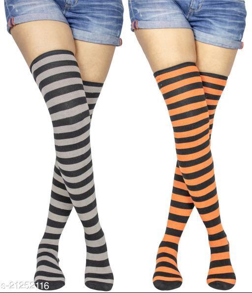 Neska Moda Women's 2 Pair Striped Cotton Thigh-High Stockings (Grey, Orange) - STK38andSTK41