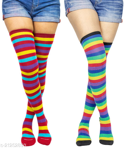 Neska Moda Women's 2 Pair Striped Cotton Thigh-High Stockings (Multicolor) - STK33andSTK50