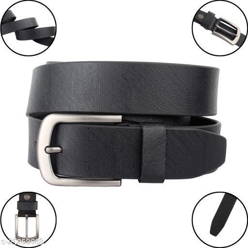 New Trendy Genuine Leather Formal, Casual Textured Belt For MEN (Black Color)