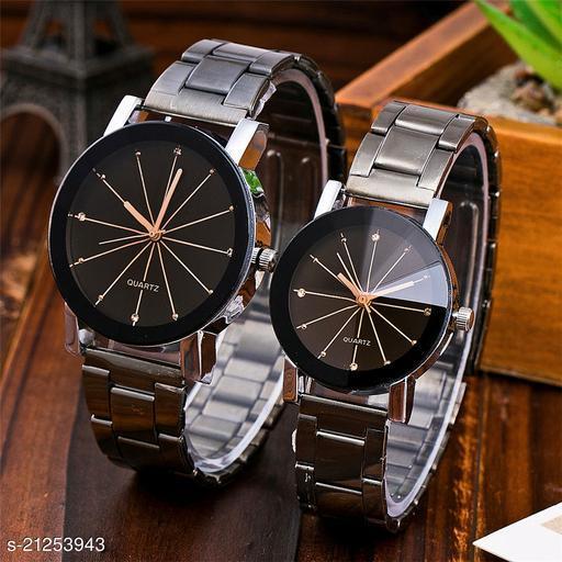 Skylark Prizam couple Dial Stainless Steel Chrome Plated Analog Watch - For Men & Women