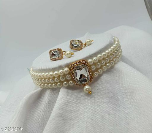 Stylish Pearl Choker Jewellery Set