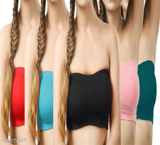 Pack of 5 Non Padded Bandeau Bra