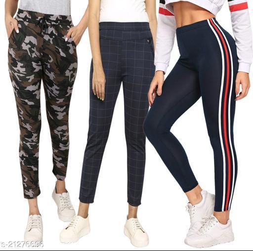 Women's jeggings_ladies leggings_trousers For Women_Printed_checks_Track Pant For Women_girls_Combo Pack Of 3