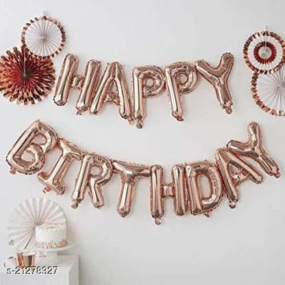 CC&S Solid Happy Birthday Letter (Rose Gold) Letter Balloon (Pack of 13) Letter Balloon