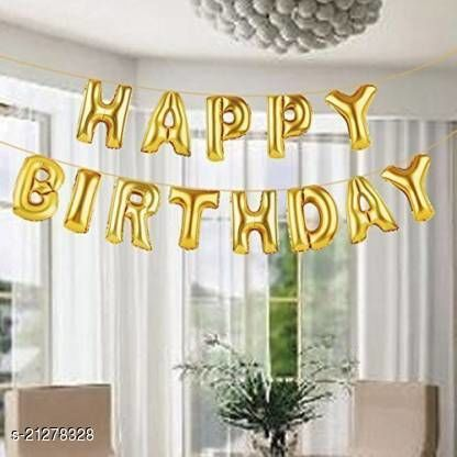 CC&S Solid Happy Birthday ( GOLD ) Letter Balloon (Pack of 13)