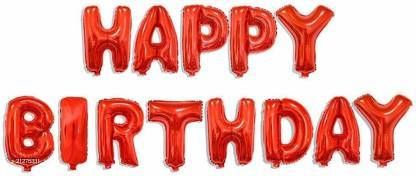 CC&S Solid Happy Birthday ( Red ) Letter Balloon (Pack of 13)