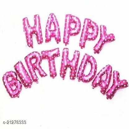 CC&S Solid Happy Birthday ( PINK DOTT ) Letter Balloon (Pack of 13)