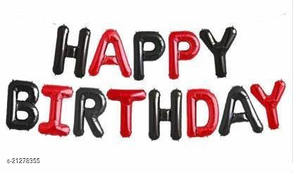 CC&S Solid Happy Birthday (RED-BLACK  ) Letter Balloon (Pack of 13)