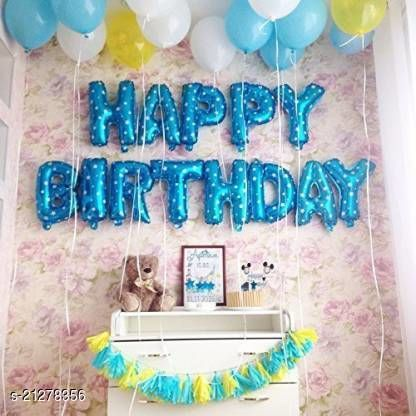 CC&S Solid Happy Birthday ( BLUE DOTT ) Letter Balloon (Pack of 13)