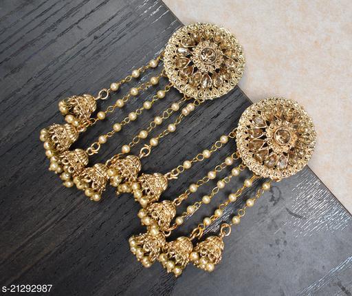 Golden Jhumki Bollywood Style Earrings for Women and Girls
