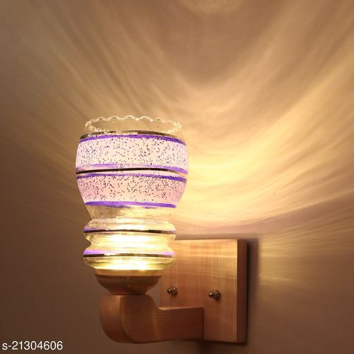 Attractive LED Sconce Glass Wall Lamp Light Of Stylish Sweet Pink Wood Fitting, 7 Watt, With All Fixture