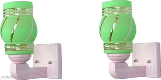 Attractive LED Sconce Glass Wall Lamp Light Of Stylish Sweet Pink Wood Fitting, 7 Watt, With All Fixture, (Set Of 2)