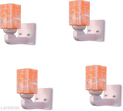 Attractive LED Sconce Glass Wall Lamp Light Of Stylish Sweet Pink Wood Fitting, 7 Watt, With All Fixture, (Set Of 4)