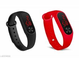 Combo of Two Black-Red Digital Band 231 For Boys-Mens