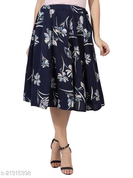 Navy Blue White Flower Print Mid Calf Length Women Panel Polyester skirt