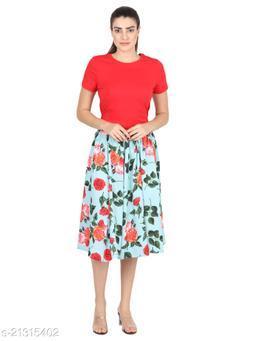 Green Mint Orange Floral Print Mid Calf Length Women Panel Polyester skirt