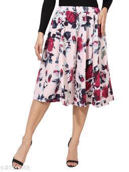 Digital Rose Print Mid Calf Length Women Panel Polyester Skirt