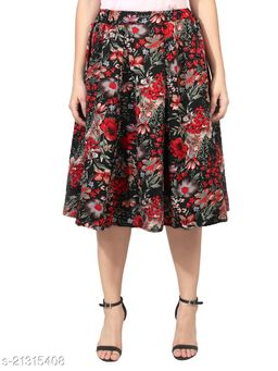 Black Floral Print Mid Calf Length Women Panel Polyester Skirt
