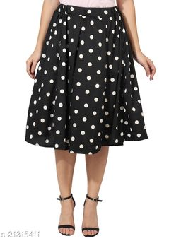 Big  Black Polka Print Mid Calf Length Women Panel Polyester Skirt