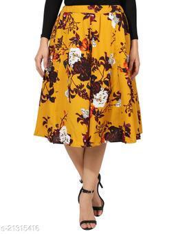 Mustard Print Mid Calf Length Women Panel Polyester skirt