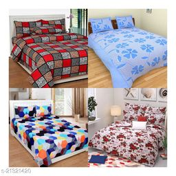 6D Indian Glace Cotton Double bedsheet 90x90 Pack of 4 Bedsheets With 8 Pillow Covers