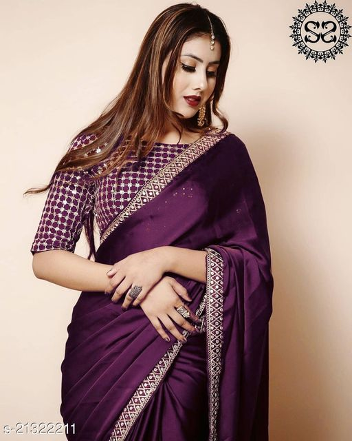Vichitra silk with Heavy Embroidery Work Border Saree