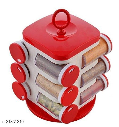 Mezire  Masala Rack with 12 pcs spice containers jar for storage / Masala Stand for Kitchen 1 Piece Spice Set  (Plastic)