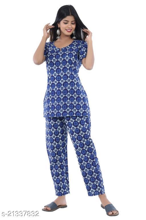 Elegant Rayon Night Suit With Good Fabric Quality Size M38 L40 XL42 XXL44