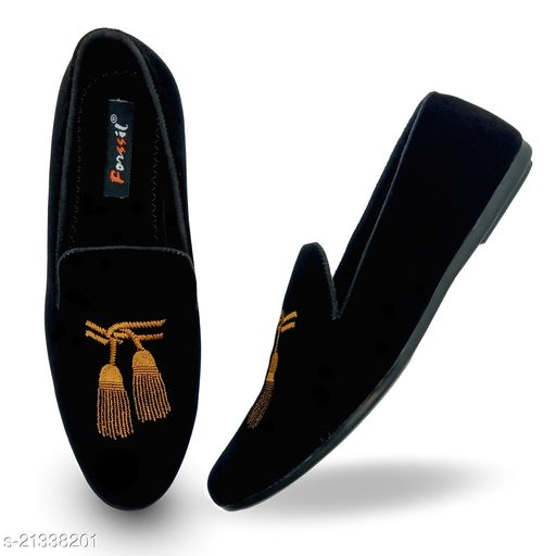 FORSSIL Z-Black Velvet Embroidered Casual Formal  Loafers Shoes for Mens and Boys (FSL-2028)