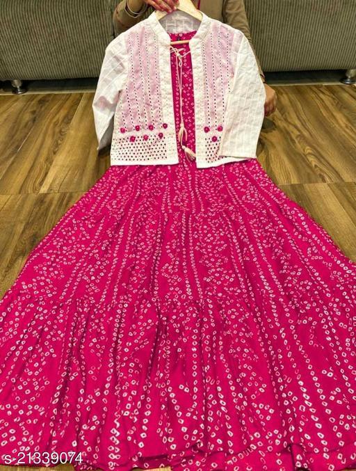 Girl's Trendy Pink Cotton Ankle Length Anarkali Kurta with Shifli Jacket